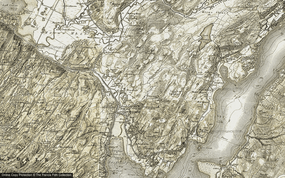 Old Map of Historic Map covering Auchoish in 1906-1907