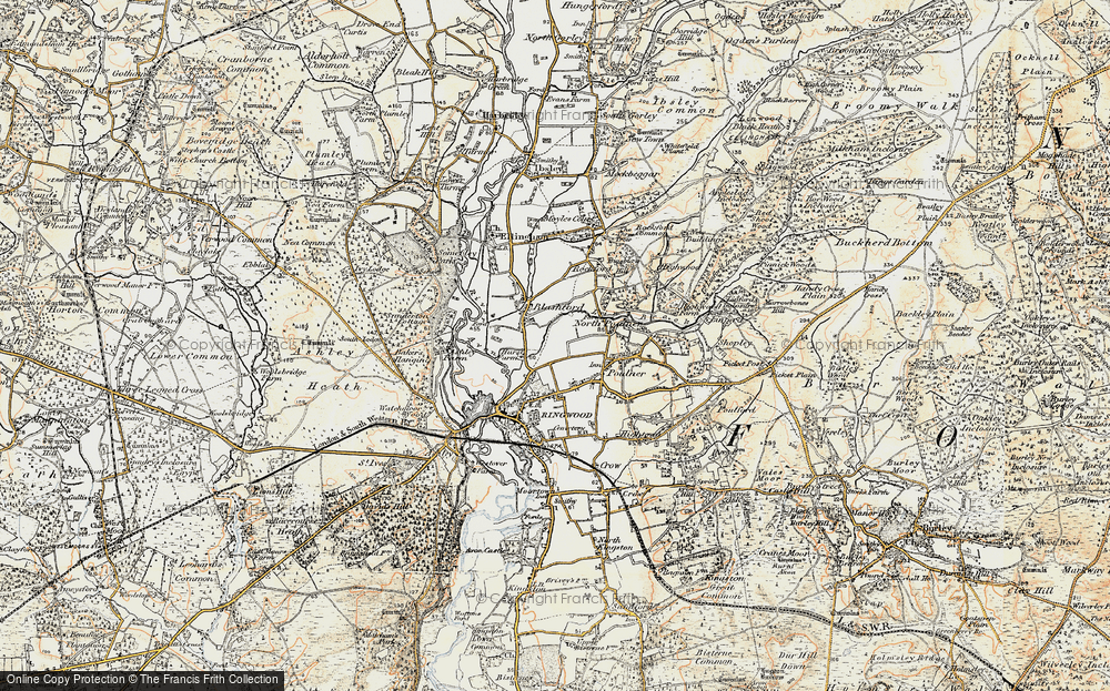 Old Map of Historic Map covering Baker's Hanging in 1897-1909