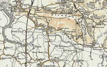 Old map of Bleadon in 1899-1900