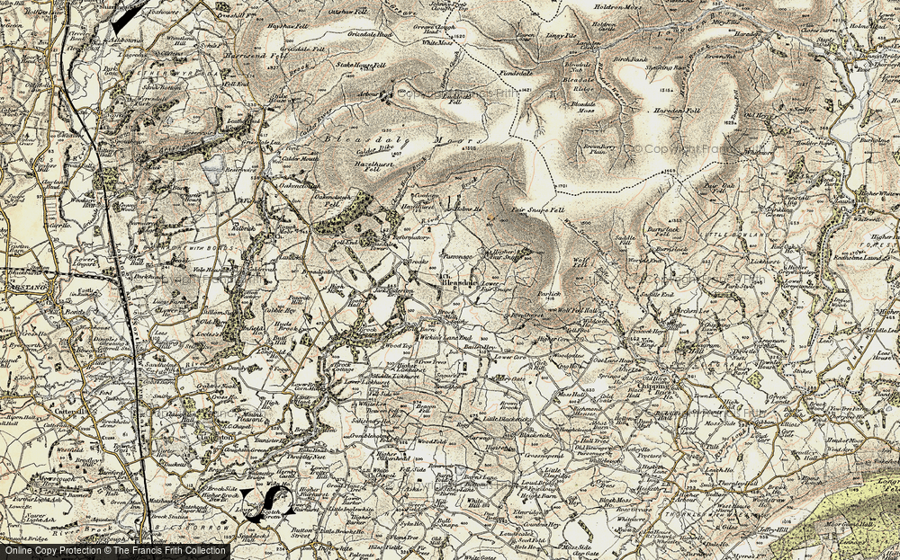 Old Map of Historic Map covering Bailey Hey in 1903-1904