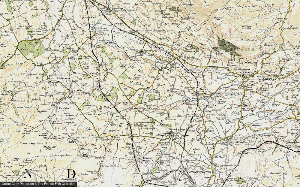 Old Map of Historic Map covering Grassgill Rigg in 1903-1904