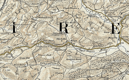Old map of Bleddfa in 1901-1903