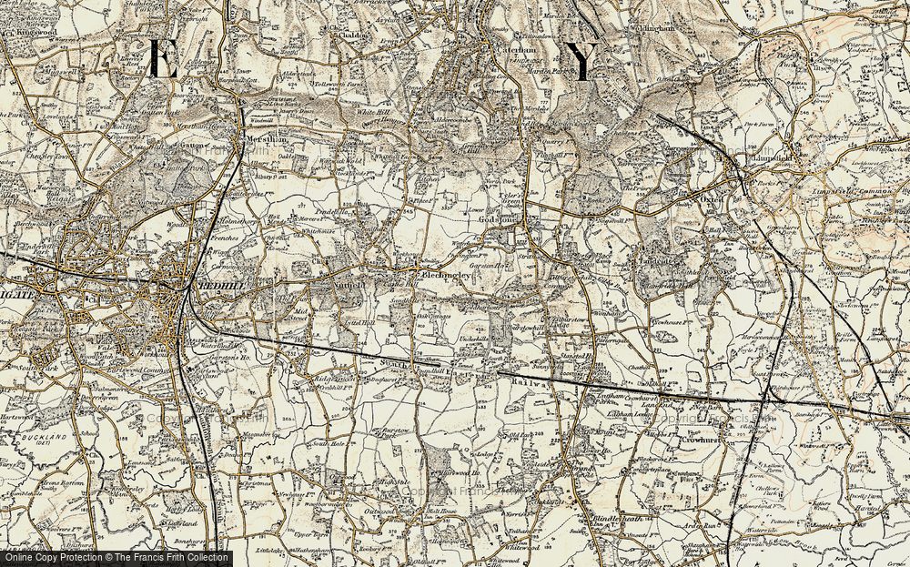 Old Map of Historic Map covering Wychcroft Ho in 1898-1902