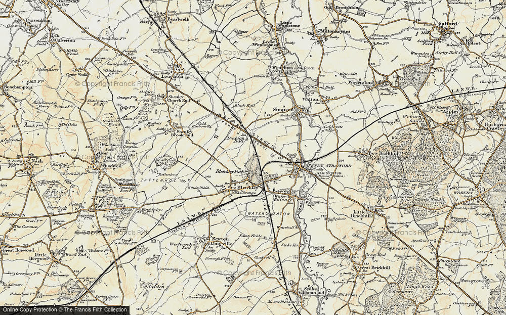 Old Map of Bletchley, 1898-1901 in 1898-1901