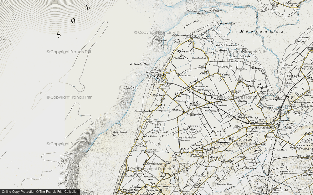 Old Map of Historic Map covering Lees Scar in 1901-1904