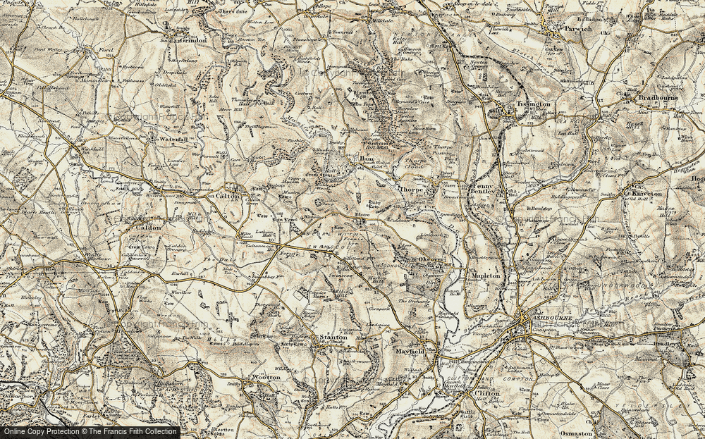 Old Map of Blore, 1902 in 1902