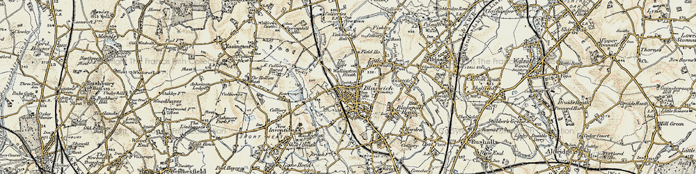 Old map of Bloxwich in 1902