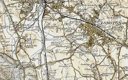 Old map of Blurton in 1902
