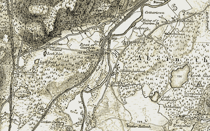 Old map of Wester Dalvoult in 1908-1911