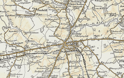 Old map of Bocking in 1898-1899