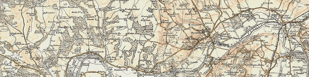 Old map of Widefield Wood in 1897-1898