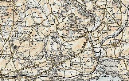 Old map of Bodelva in 1900