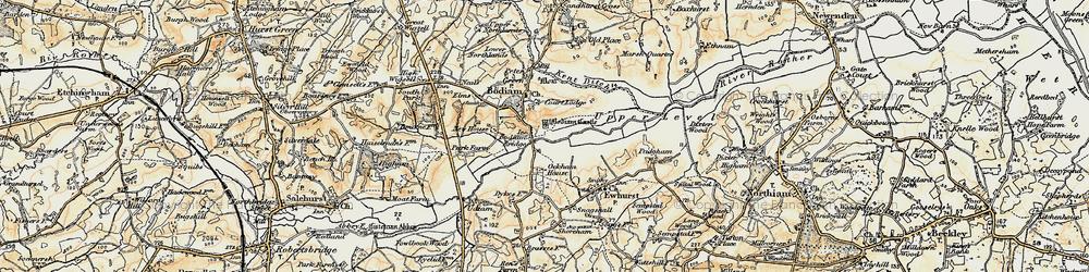 Old map of Bodiam in 1898