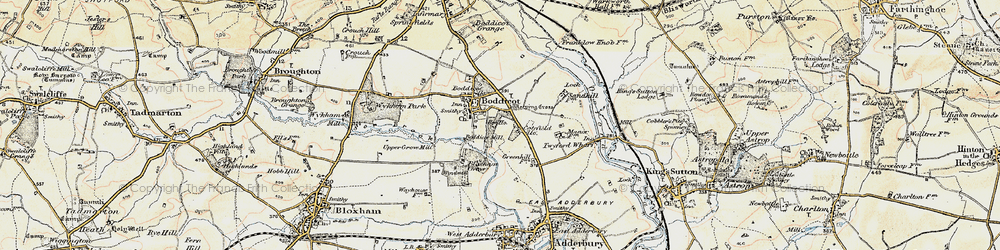 Old map of Bodicote in 1898-1901