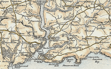 Old map of Bodinnick in 1900
