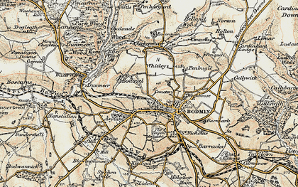 Old map of Bodmin in 1900
