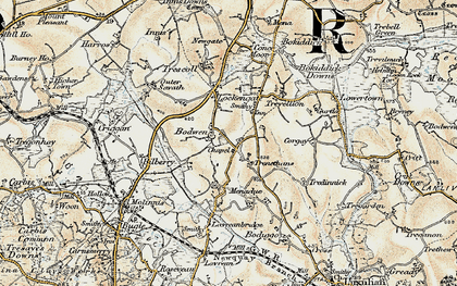 Old map of Bodwen in 1900