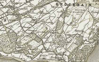 Old map of Allangrange Mains in 1911-1912
