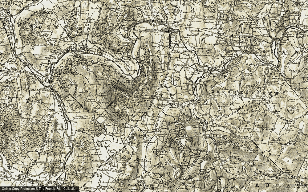 Old Map of Historic Map covering White Hill in 1908-1910