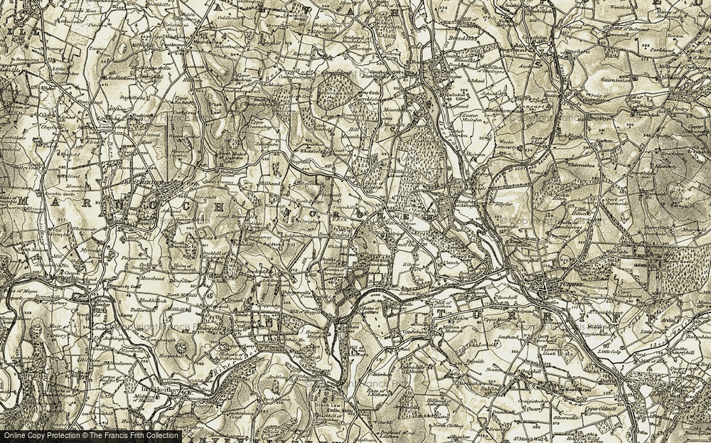 Old Map of Historic Map covering Auldtown of Carnousie in 1910