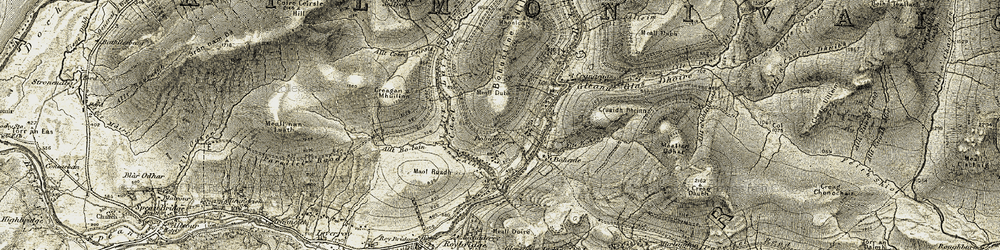 Old map of Allt Coire Ceirsle in 1906-1908