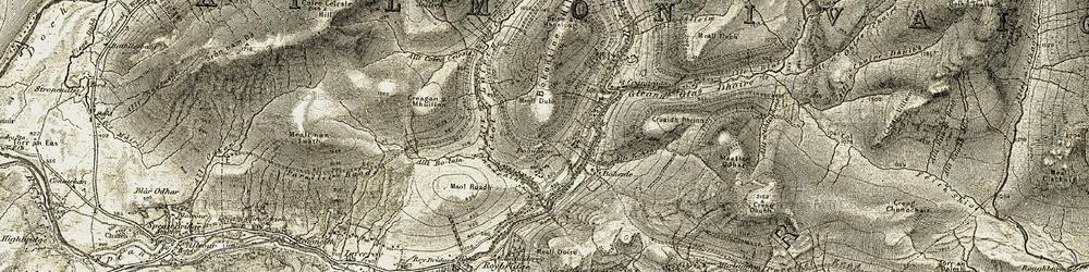 Old map of Allt Ionndrainn in 1906-1908