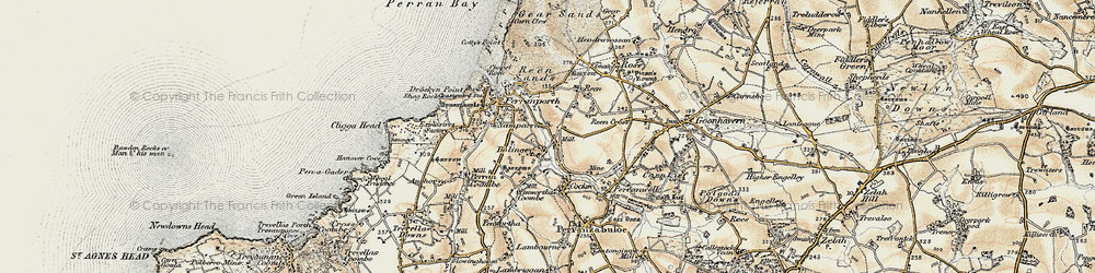Old map of Bolingey in 1900