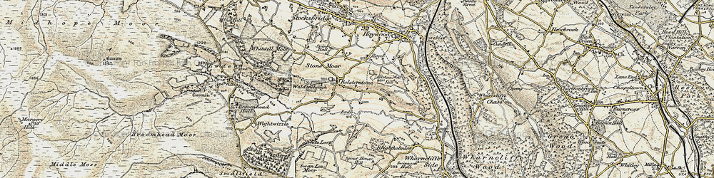 Old map of Bolsterstone in 1903