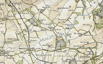 Old map of Abberwick Village in 1901-1903