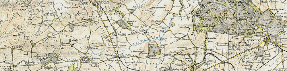 Old map of Broome Park in 1901-1903