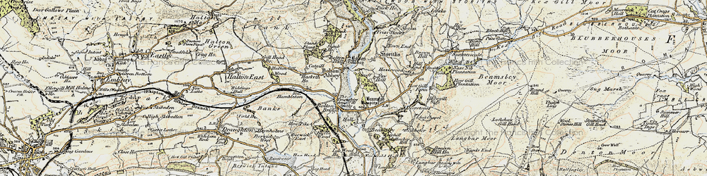 Old map of Bolton Abbey in 1903-1904