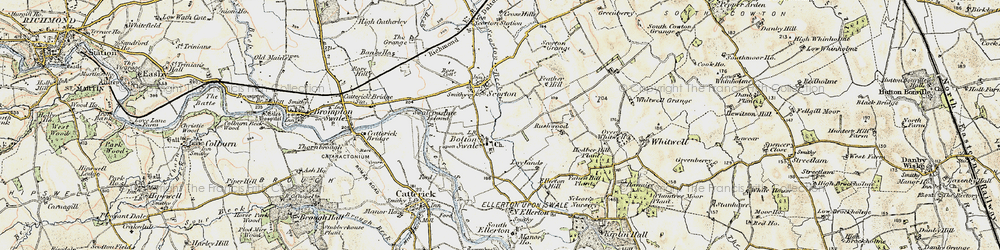 Old map of Bolton-on-Swale in 1903-1904