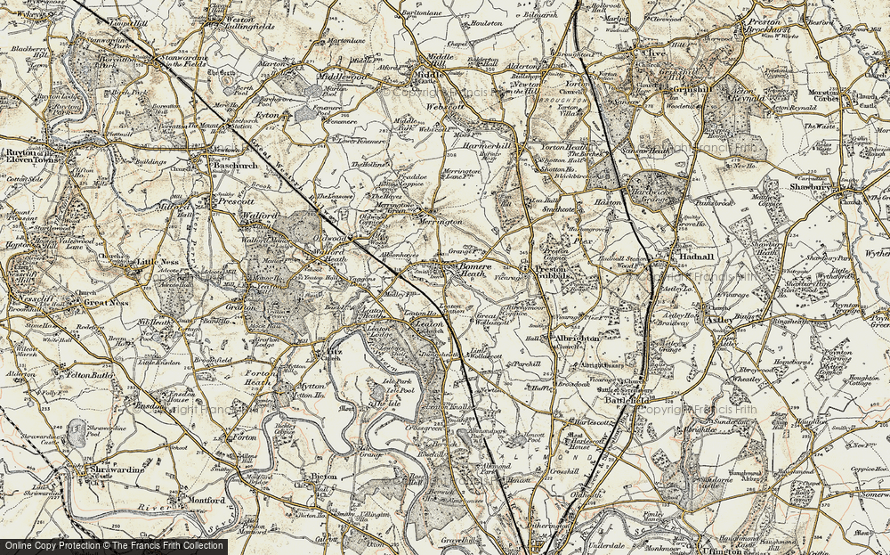 Old Map of Bomere Heath, 1902 in 1902
