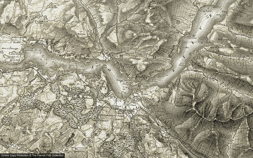 Old Map of Historic Map covering Allt Nathais in 1906-1907