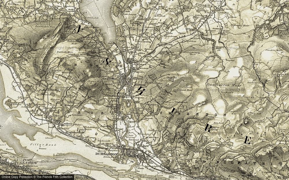 Old Map of Historic Map covering Auchenreoch Muir in 1905-1907