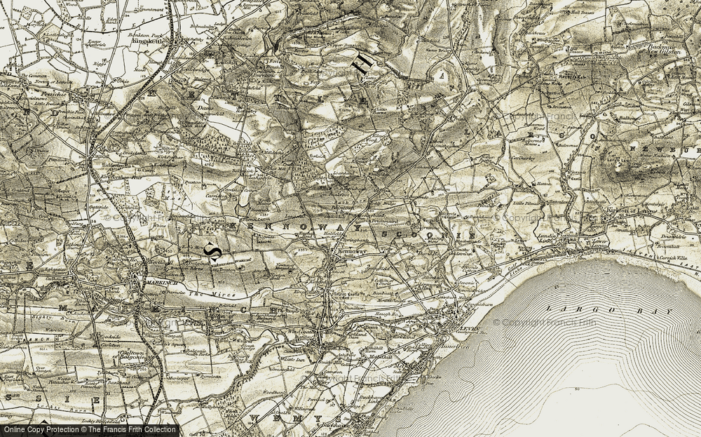 Old Map of Historic Map covering Toddy Bridge in 1903-1908
