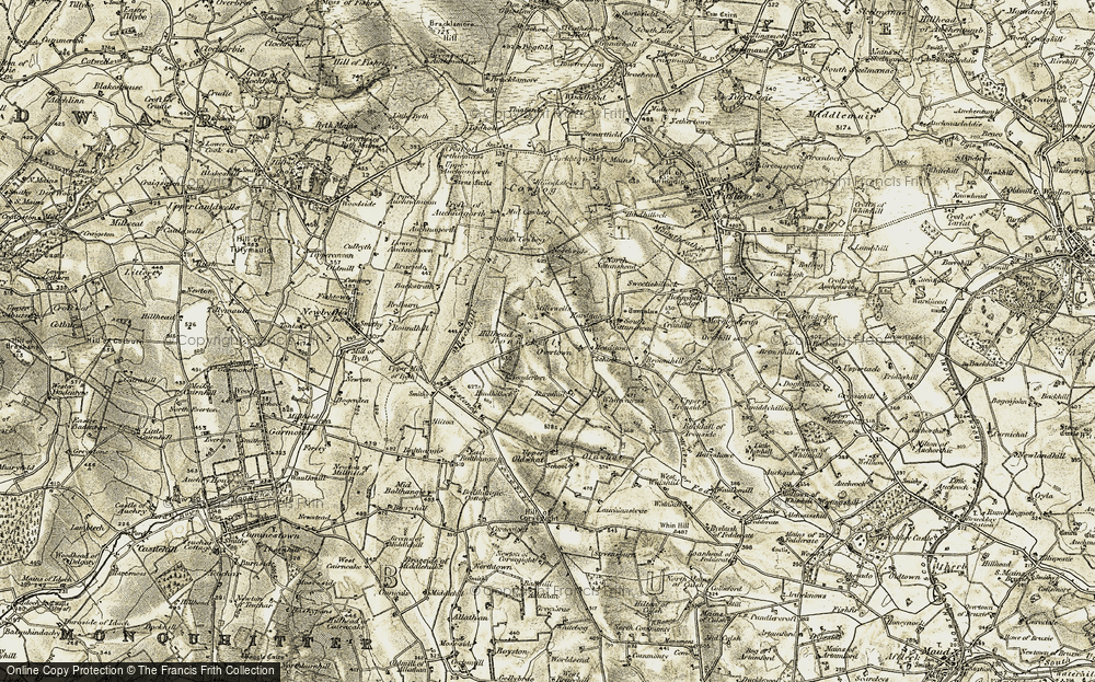 Old Map of Historic Map covering Backhill in 1909-1910