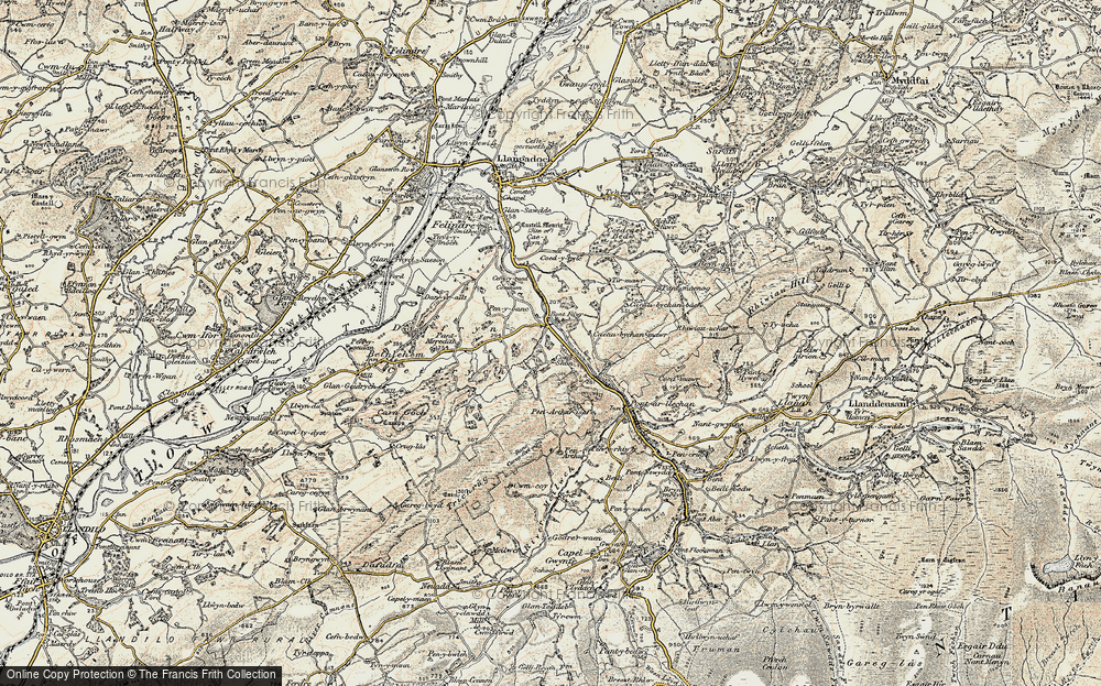 Old Map of Historic Map covering Tirmawr in 1900-1901