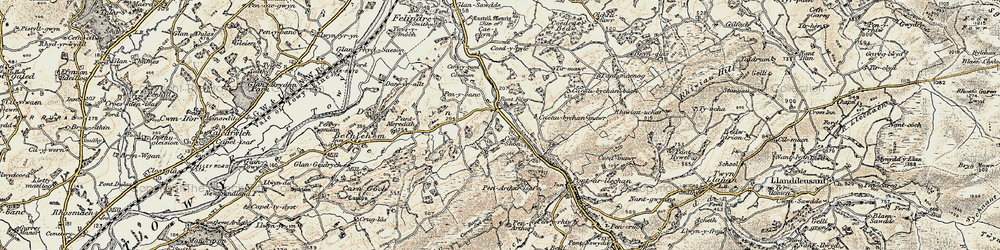 Old map of Tirmawr in 1900-1901