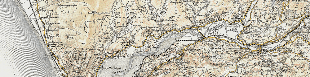 Old map of Abergwynant in 1902-1903
