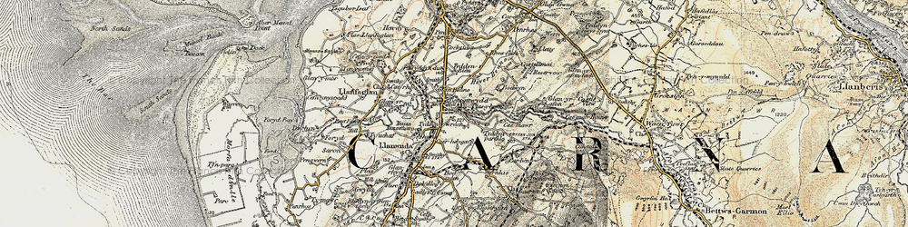 Old map of Bontnewydd in 1903-1910