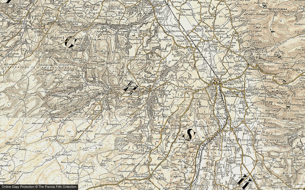 Old Map of Historic Map covering Aber-ddu in 1902-1903