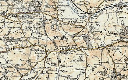 Old map of Bonvilston in 1899-1900