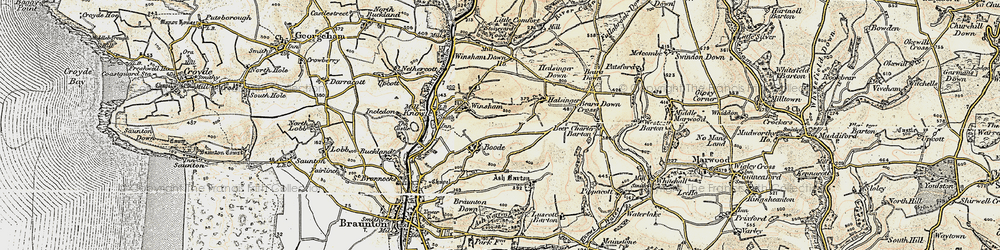 Old map of Winsham Down Ho in 1900