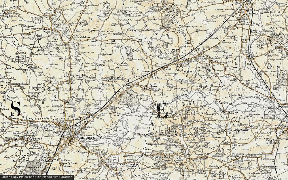 Old Map of Boreham, 1898 in 1898