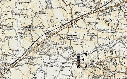 Old map of Boreham in 1898
