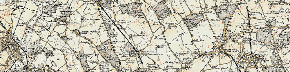 Old map of Borehamwood in 1897-1898