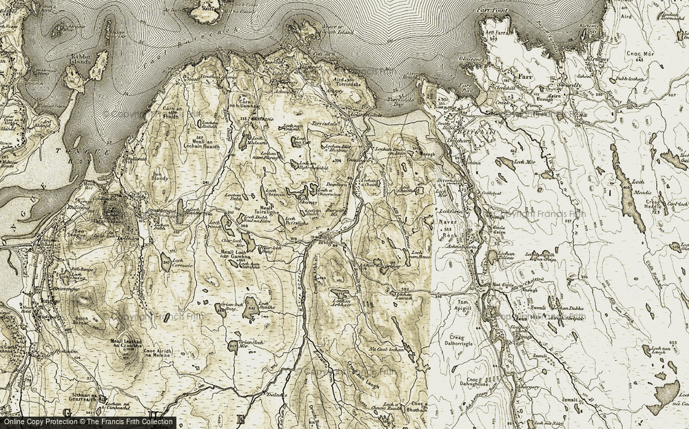 Old Map of Historic Map covering Allt Borgidh Beag in 1910-1912