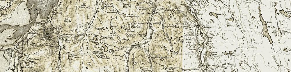 Old map of Allt Borgidh Beag in 1910-1912