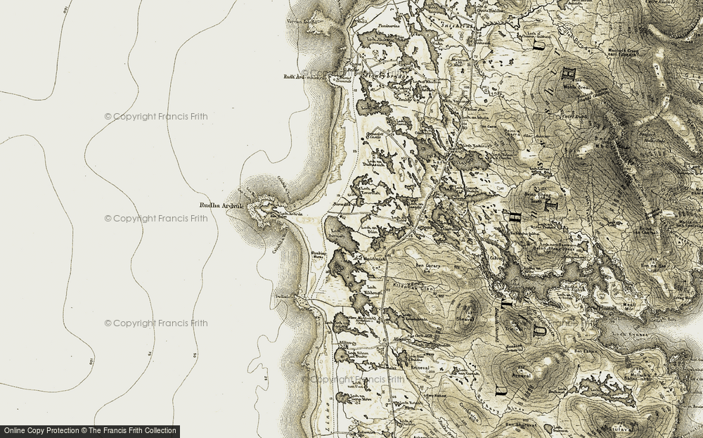 Old Map of Historic Map covering Àird Gaidinis in 1911